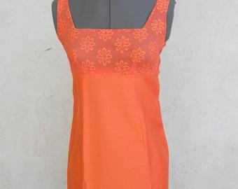SALE 70s Summer Dress . Orange Daisy Maxi . Chiffon Low Back XS, XXS