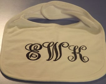 Personalized Vinyl or Embroidered Baby Bibs, many colors & fonts, boys and girls,