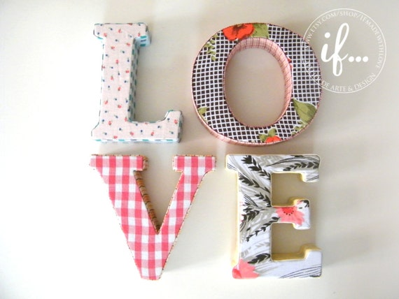 LOVE: Decorative fabric letters by If... made with love
