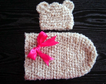 The Cream Bear Cocoon and a Beanie Set Photography prop