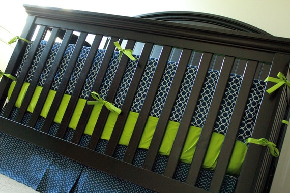 Custom Baby Bedding Navy Blue And Lime Green
