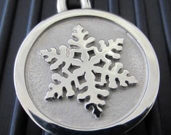 Medium Stainless Steel Snowflake Pet ID Tag