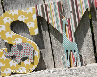 Custom Nursery Wooden Letters, Baby Nursery - Elephant and Giraffe Theme Custom Letters, 9 Inch Size