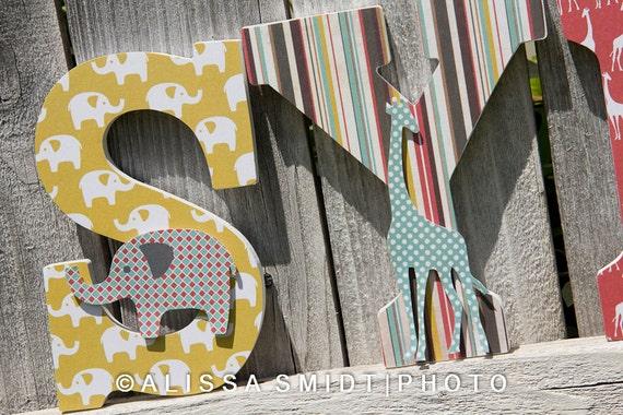 Custom Nursery Wooden Letters Baby Nursery Elephant And