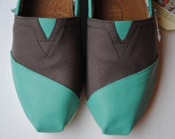 Womens Custom Hand Painted TOMS in Ash Gray and Teal