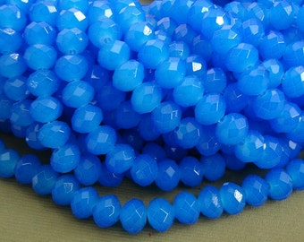 15inch-Royal Blue Quartz Glass Faceted Rondelle Beads...8mmx6mm..