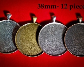 12 Pendants Extra Large 1 1/2 inches  38mm Round Blank Photo Pendant Trays customizable blank Settings LEAD FREE
