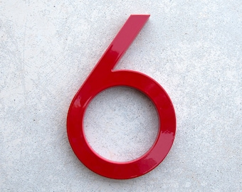 Modern House Number Aluminum Modern Font Number SIX  6 in RED