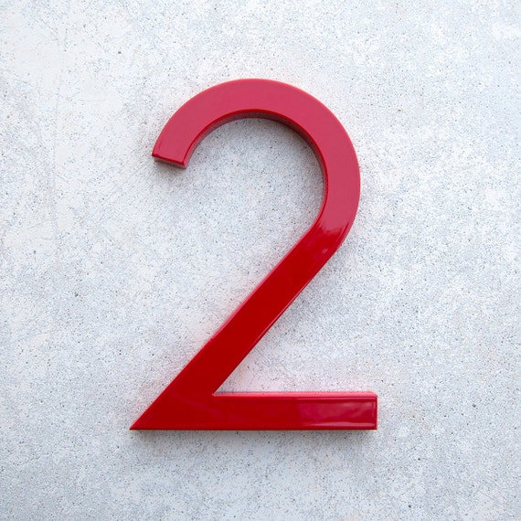 Modern house number aluminum modern font number two 2 in red