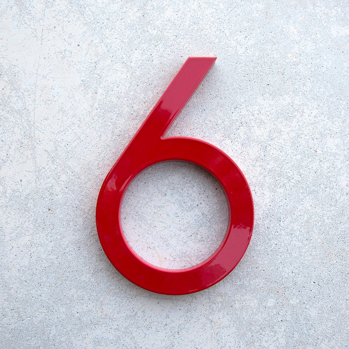 Modern house number aluminum modern font number six 6 in red for Modern house numbers