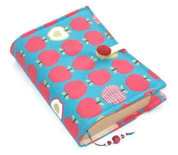 Handmade Fabric Book Covers : Fabric book cover apples by whimsywoodesigns on etsy