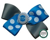 ZTA Zeta Tau Alpha Sorority Grey and Turquoise Hair Bow