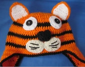 Crochet Tiger Ear flap Hat with Braided Tails