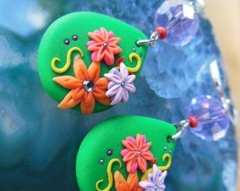 Colorful Teardrop Flower Earrings