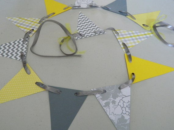 Yellow and gray baby shower decor chevron birthday garland yellow and gray 1st birthday - Baby shower chevron decorations ...