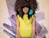 Fashion illustration - Afro Natural Hair Mixed media