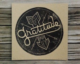 block print // GRATITUDE, Right Back Atcha // hand-carved hand-printed 5.5 x 5.5 illustrated typography print