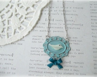 MOP Bird on Blue Frame Necklace