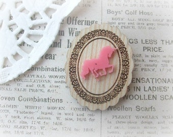 Wooden Frame with Pink Unicorn Brooch