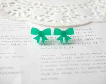 ON SALE  Emerald Lasercut Bow Stud Earrings