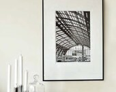 """Large Black and White Modern Fine Art Photography - Europe - Antwerp Train Station P  - 30cmx45cm /12""""x18"""" Size (Can also be custom sizes)"""