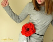 Red Accessories - Poppy - poppies, large felted wool flower 4 in 1 choker necklace, brooch pin, wrist corsage flower, belt