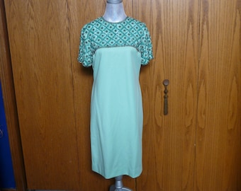 Vintage Mint Green Cocktail Dress with Sequins, Seed Beads and Emerald Green Rhinestones