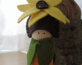 Sunflower peg doll