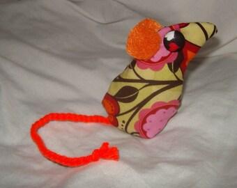 minature mouse art doll ooak beanbag orange pale green retro print weight flowers hearts hand sewn