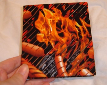 Mini Hot Dogs BBQ grill notebook book with cotton cover minature handmade hand bound handbound