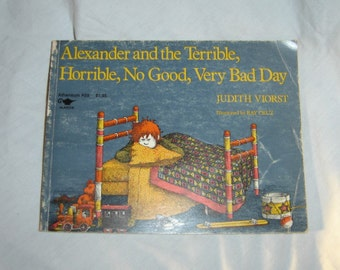 SALE Alexander and the Terrible Horrible No Good Very Bad Day by Judith Viorst childrens book vintage old book paperback 1972 70s