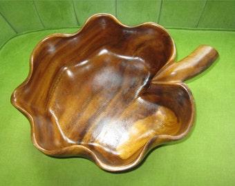 Vintage Solid Wood Carved Bowl