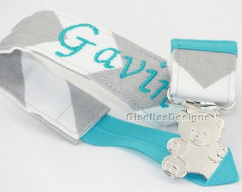 Personalized Pacifier Clip, New Baby Pacifier Clip, custom made pacifier clip, baby shower gifts