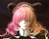 Chocolate Brown Bear Headdress with Cream Ribbon