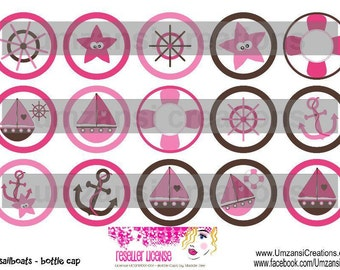 """15 Girly Sailboats Nautical Digital Download for 1"""" Bottle Caps (4x6)"""
