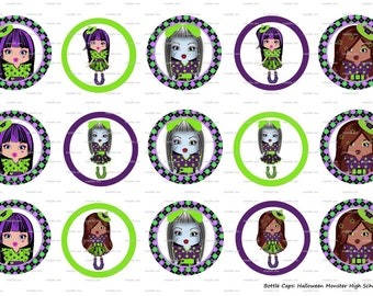 "15 Halloween Monster High School Dolls Digital Download for 1"" Bottle Caps (4x6)"