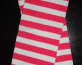 Pink/White Stripe Legwarmers WITH Bows. Infant through Child.