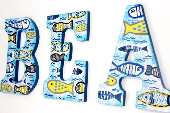 painted wooden letters fish themed mixed media hand painted