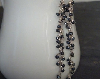 Extra Long Sterling Silver and Black Spinel Gemstone Earrings