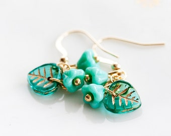 Green Flower Leaf Earrings Turquoise Leaf Flower Earrings Nature Inspired Green Jewelry - E245