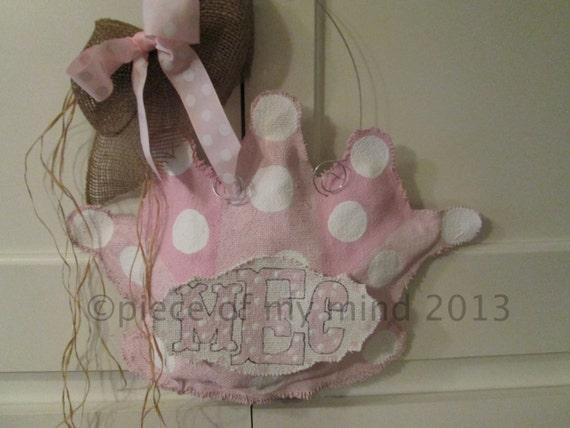 Items similar to crown baby burlap door hanger in pink