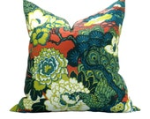 Schumacher Shanghai Peacock pillow cover in Cerise - sparkmodern