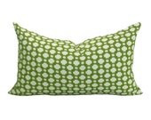 Schumacher Betwixt lumbar pillow cover in Grass/Ivory