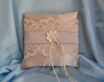 Champagne Flax Taupe Ivory Lace Square Satin Pearls Ribbon Ring Bearer Pillow Bow Wedding Bridal