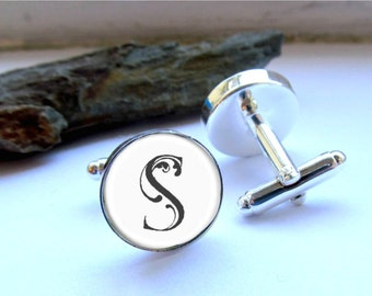 Monogram Cufflinks, Mens Personalized Cufflinks, Groomsman, Best Man Keepsake