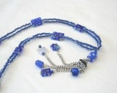 Millefiori Glass Beads Double Strand Necklace with Cone Pendant