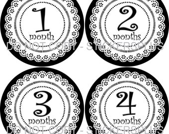 Baby Girl Month Stickers Plus FREE Gift  Doily Lace White Black PRECUT Bodysuit Stickers Monthly Baby Age Stickers Photo Prop