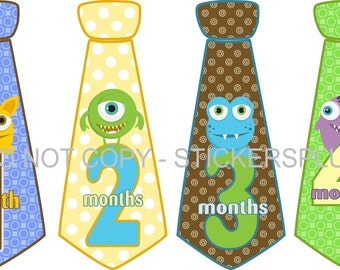 Monthly Baby Boy Neck Tie Milestone Stickers Necktie Stickers Cute Monsters Blue Brown Green Yellow  1-12 Months Baby Month Stickers