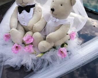 Teddybears Bridal Couple Wedding Car Decoration