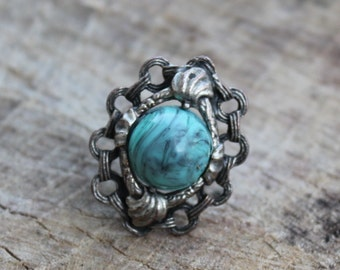 Vintage Faux Turquoise and Silver Ring